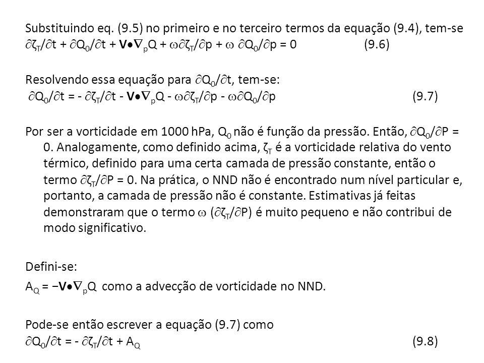 Com base na equação acima nota-se que a variação local de Q 0 depende da variação local da vorticidade relativa do vento térmico, bem como, da advecção de vorticidade absoluta no NND.