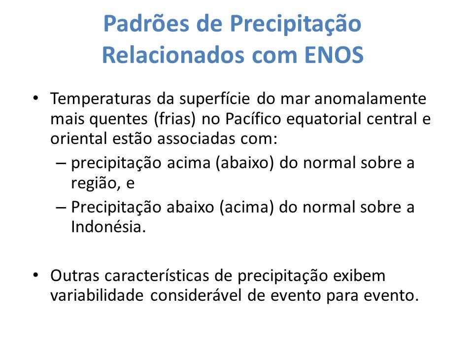 Padrões de Precipitação Relacionados com ENOS Temperaturas da superfície do mar anomalamente mais quentes (frias) no Pacífico equatorial central e ori