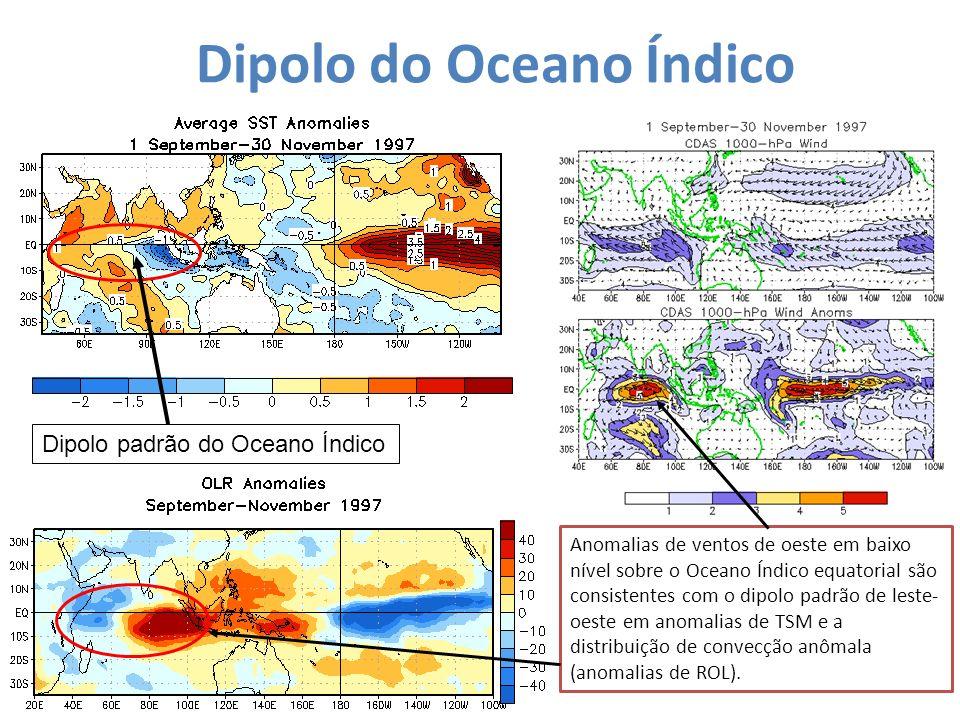 Dipolo do Oceano Índico Dipolo padrão do Oceano Índico Anomalias de ventos de oeste em baixo nível sobre o Oceano Índico equatorial são consistentes c