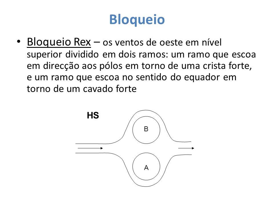 Bloqueio Bloqueio Rex – os ventos de oeste em nível superior dividido em dois ramos: um ramo que escoa em direcção aos pólos em torno de uma crista fo