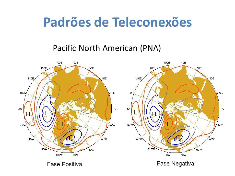 Padrões de Teleconexões Pacific North American (PNA) L L H HH H L L Fase Positiva Fase Negativa
