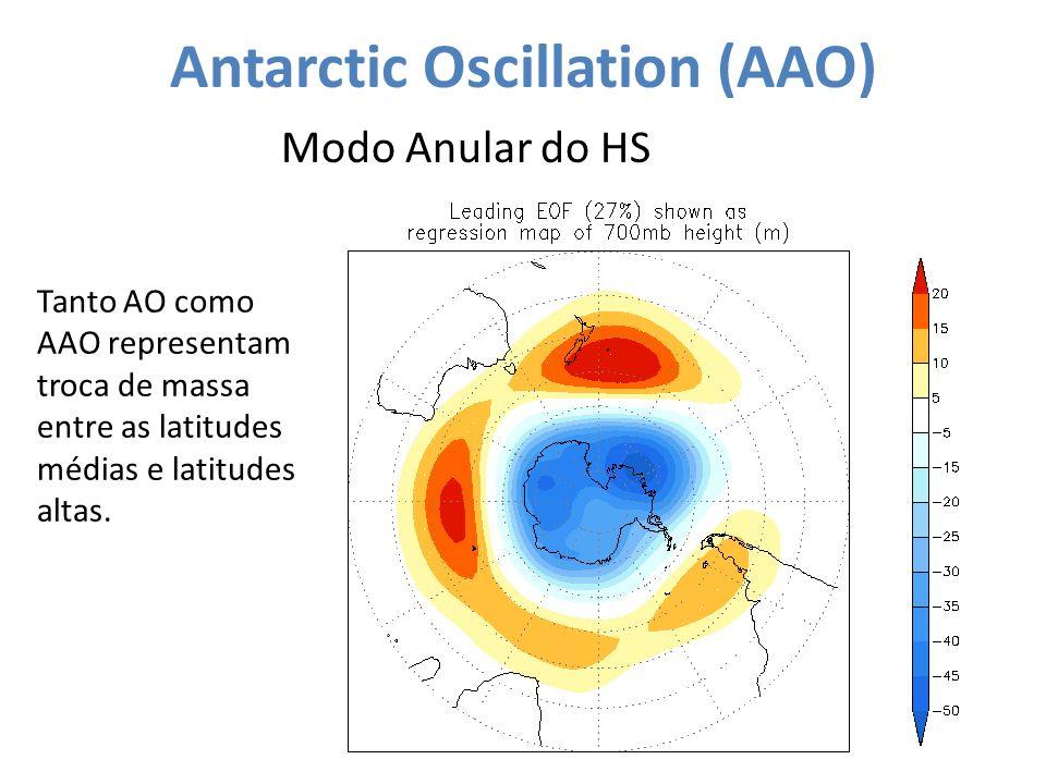 Antarctic Oscillation (AAO) Modo Anular do HS Tanto AO como AAO representam troca de massa entre as latitudes médias e latitudes altas.