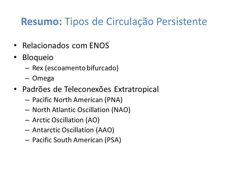 Resumo: Tipos de Circulação Persistente Relacionados com ENOS Bloqueio – Rex (escoamento bifurcado) – Omega Padrões de Teleconexões Extratropical – Pa