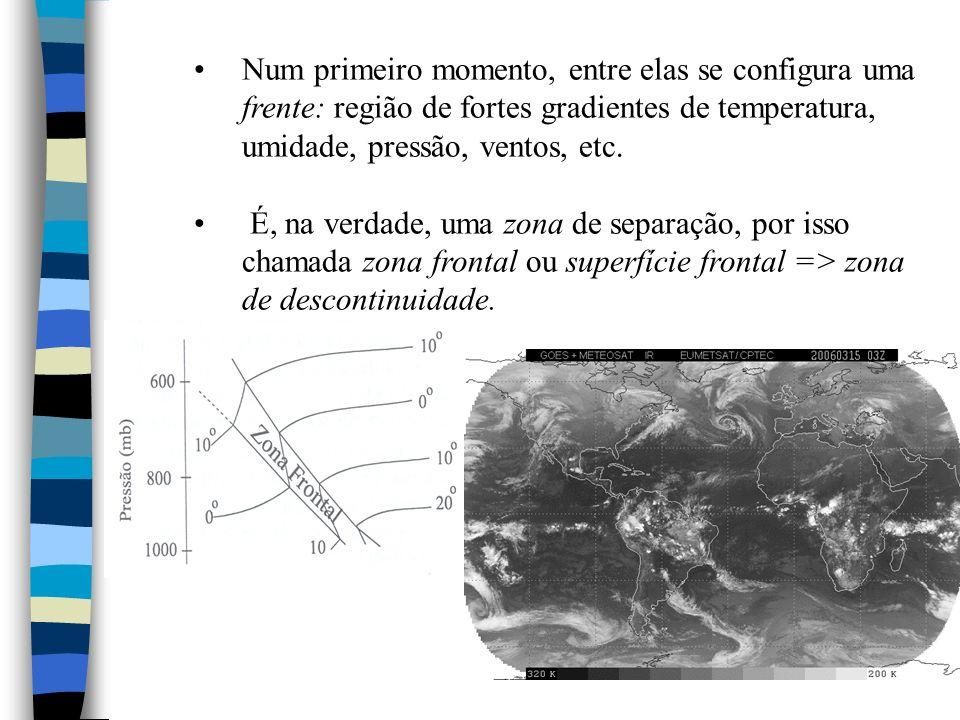 Num primeiro momento, entre elas se configura uma frente: região de fortes gradientes de temperatura, umidade, pressão, ventos, etc. É, na verdade, um