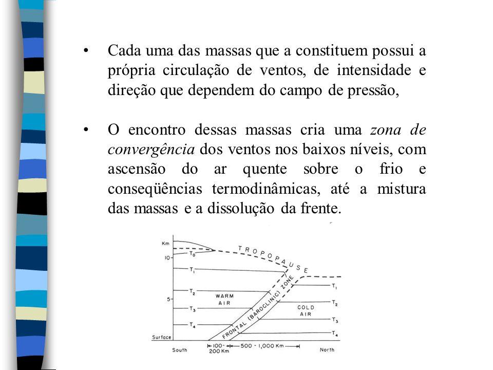 Frentes Oclusas Devido à maior velocidade e inclinação abrupta, a frente fria é mais rápida que a quente.