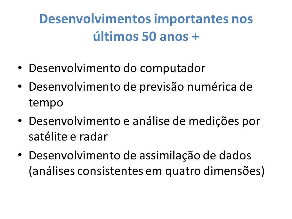 Desenvolvimentos importantes nos últimos 50 anos + Desenvolvimento do computador Desenvolvimento de previsão numérica de tempo Desenvolvimento e análi