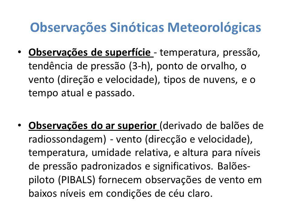 Observações Sinóticas Meteorológicas Observações de superfície - temperatura, pressão, tendência de pressão (3-h), ponto de orvalho, o vento (direção
