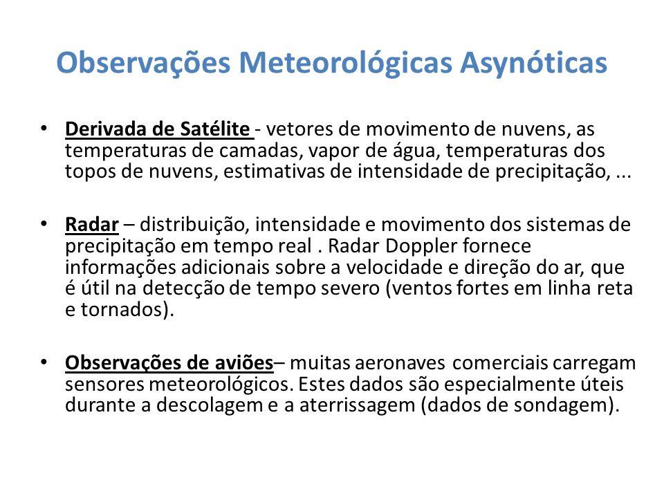 Observações Meteorológicas Asynóticas Derivada de Satélite - vetores de movimento de nuvens, as temperaturas de camadas, vapor de água, temperaturas d