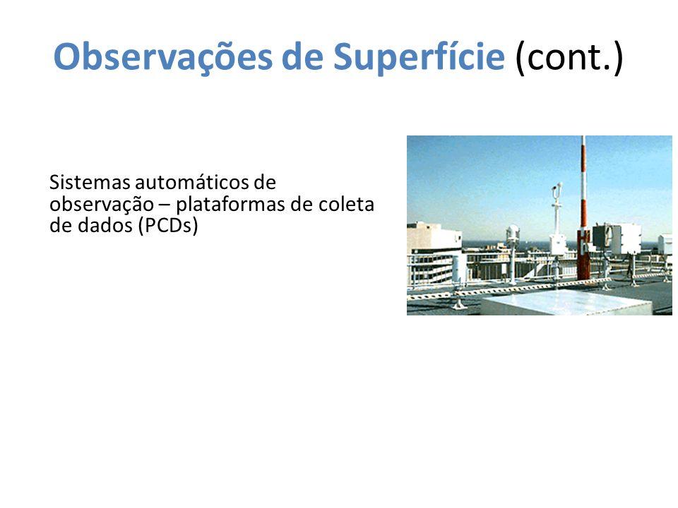 Observações de Superfície (cont.) Sistemas automáticos de observação – plataformas de coleta de dados (PCDs)