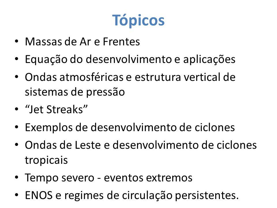 Tópicos Massas de Ar e Frentes Equação do desenvolvimento e aplicações Ondas atmosféricas e estrutura vertical de sistemas de pressão Jet Streaks Exem