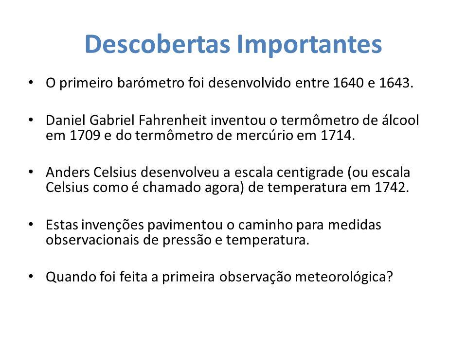 Descobertas Importantes O primeiro barómetro foi desenvolvido entre 1640 e 1643. Daniel Gabriel Fahrenheit inventou o termômetro de álcool em 1709 e d