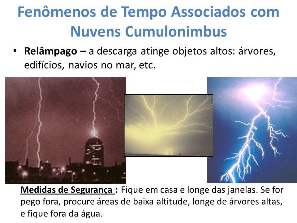Fenômenos de Tempo Associados com Nuvens Cumulonimbus Relâmpago – a descarga atinge objetos altos: árvores, edifícios, navios no mar, etc. Medidas de