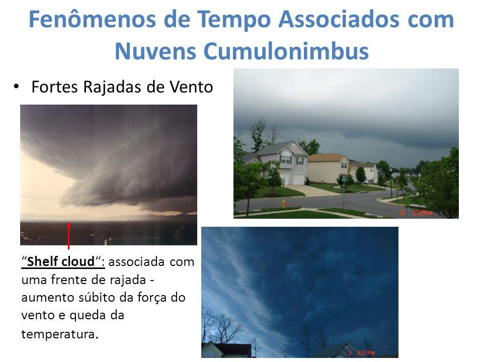 Fenômenos de Tempo Associados com Nuvens Cumulonimbus Fortes Rajadas de Vento Shelf cloud: associada com uma frente de rajada - aumento súbito da forç
