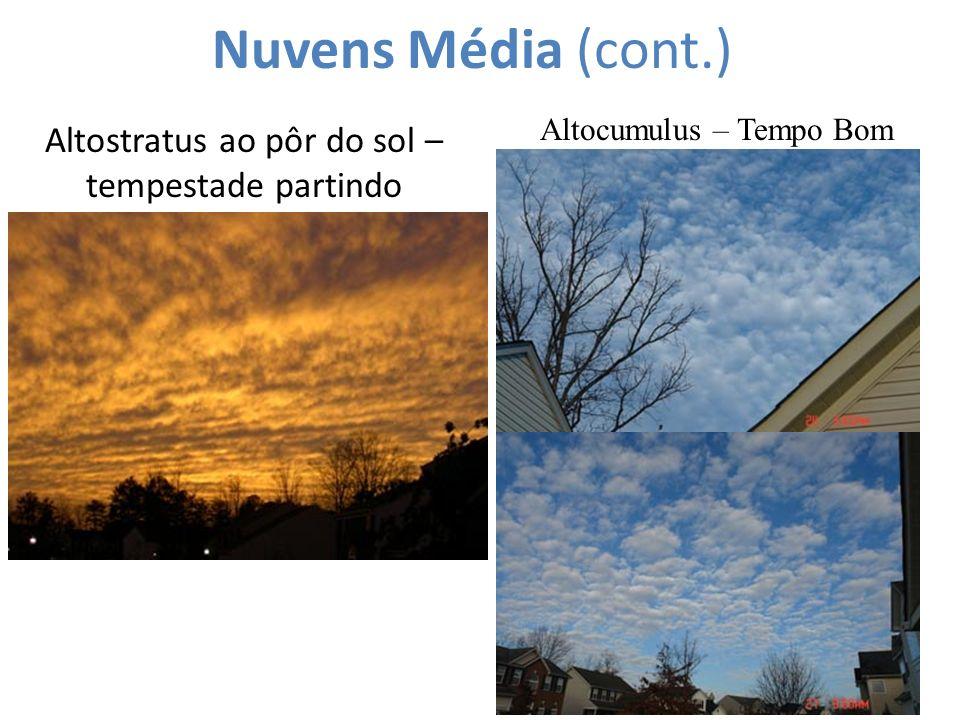 Nuvens Média (cont.) Altocumulus – Tempo Bom Altostratus ao pôr do sol – tempestade partindo