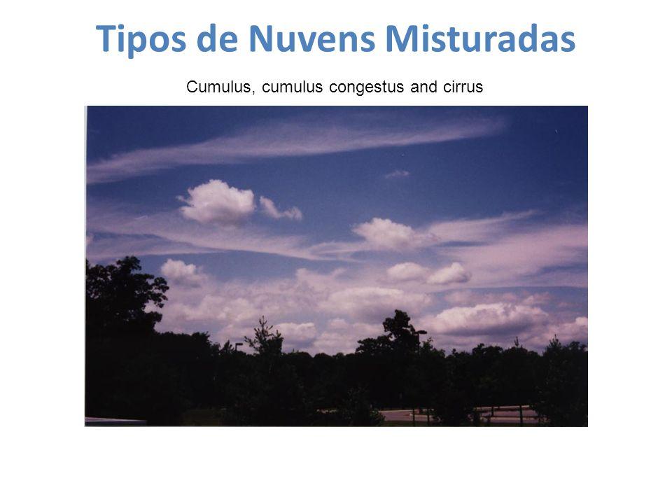 Tipos de Nuvens Misturadas Cumulus, cumulus congestus and cirrus