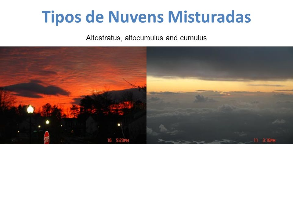 Tipos de Nuvens Misturadas Altostratus, altocumulus and cumulus