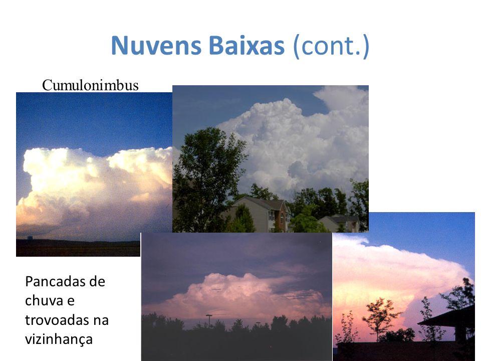 Nuvens Baixas (cont.) Cumulonimbus Pancadas de chuva e trovoadas na vizinhança