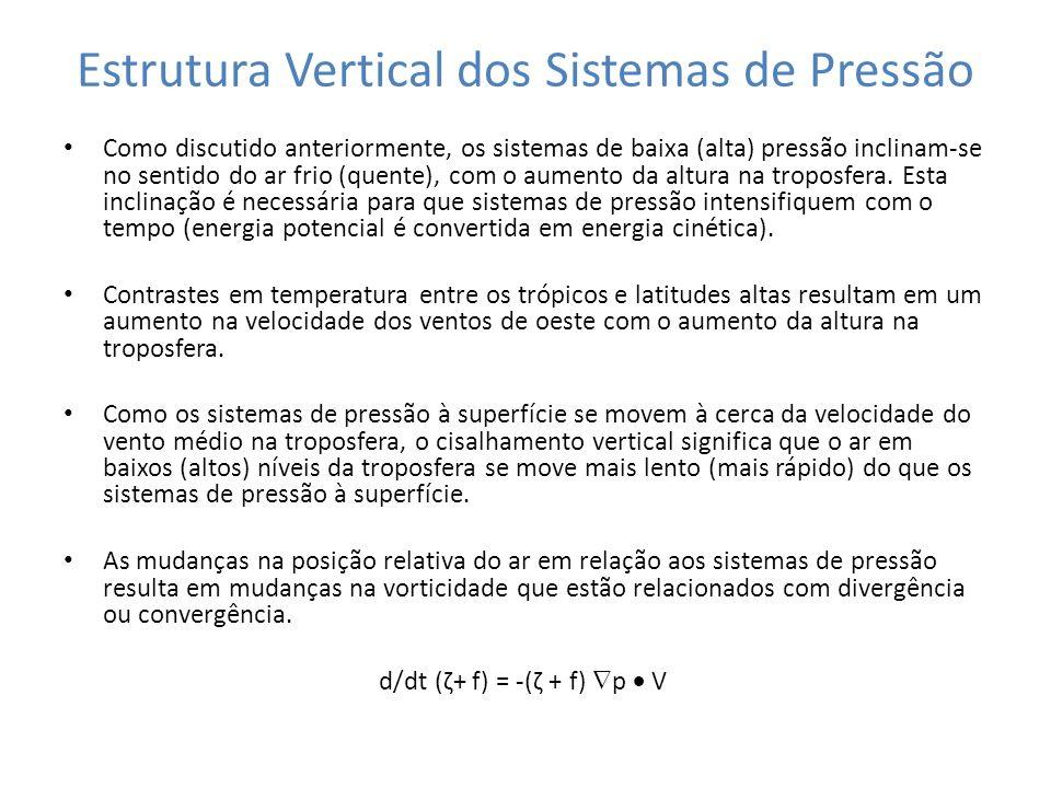 Estrutura Vertical dos Sistemas de Pressão Como discutido anteriormente, os sistemas de baixa (alta) pressão inclinam-se no sentido do ar frio (quente