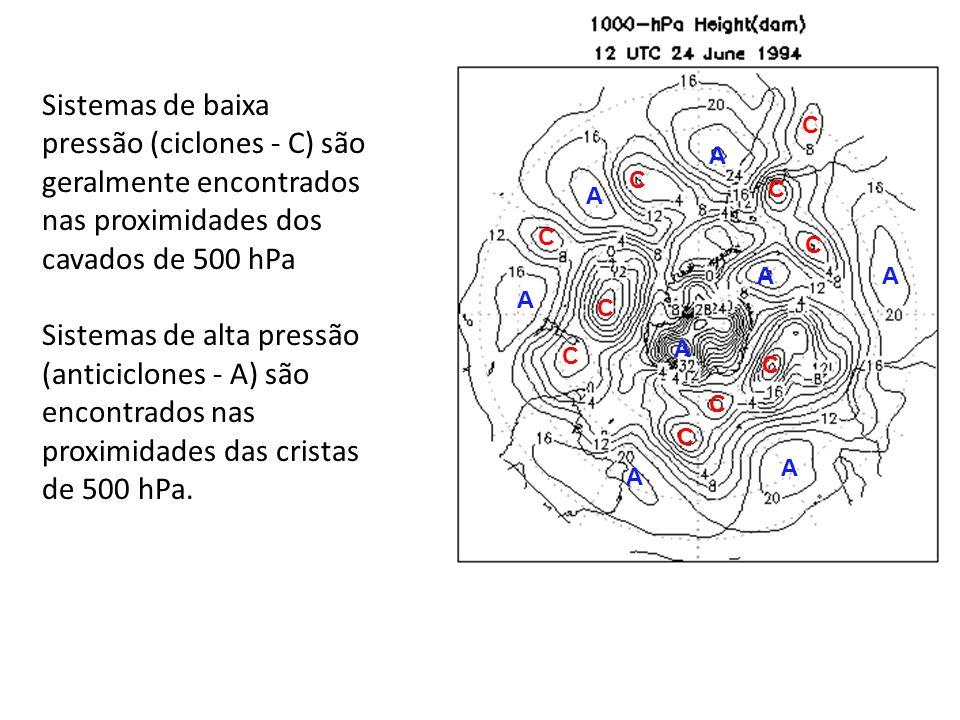 C C C C C C C C C A A A A A AA A C Sistemas de baixa pressão (ciclones - C) são geralmente encontrados nas proximidades dos cavados de 500 hPa Sistema