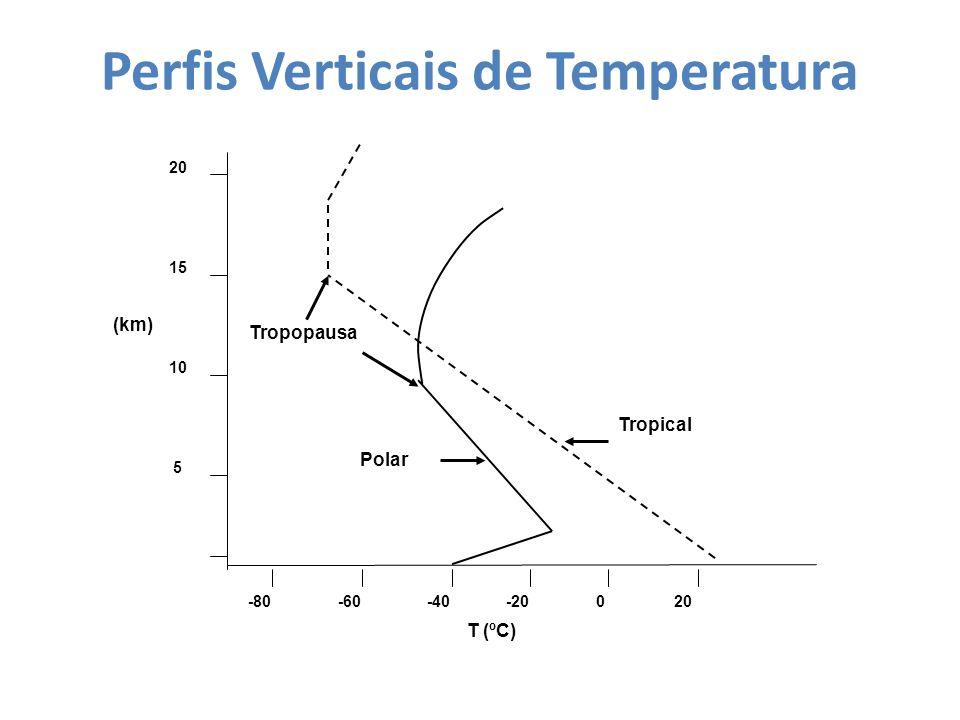 Perfis Verticais de Temperatura Polar (km) 20 15 10 5 -80-60-40-20020 Tropical Tropopausa T (ºC)