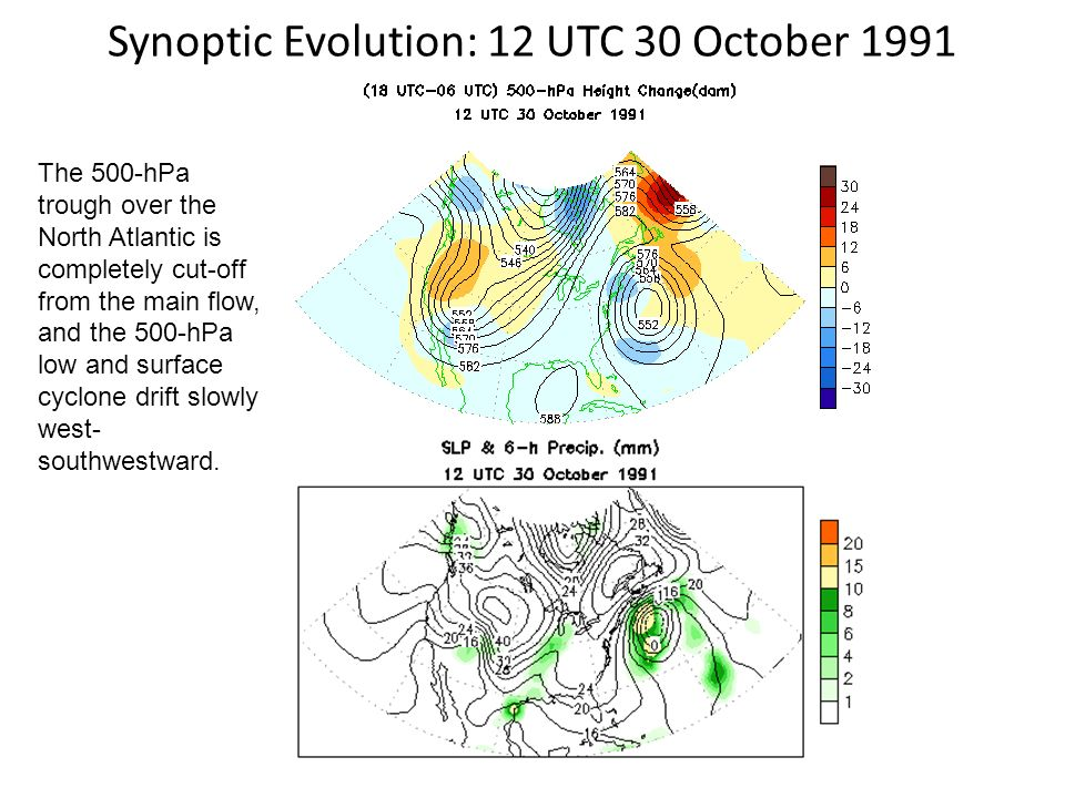 Synoptic Evolution: 12 UTC 30 October 1991 The 500-hPa trough over the North Atlantic is completely cut-off from the main flow, and the 500-hPa low an