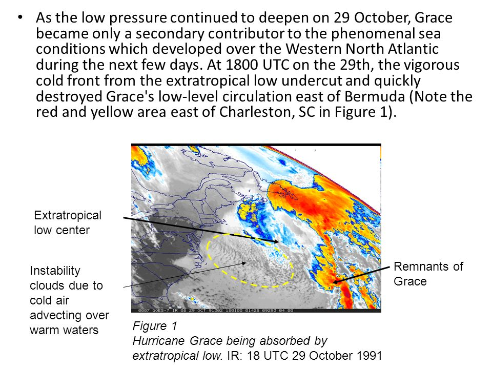 As the low pressure continued to deepen on 29 October, Grace became only a secondary contributor to the phenomenal sea conditions which developed over