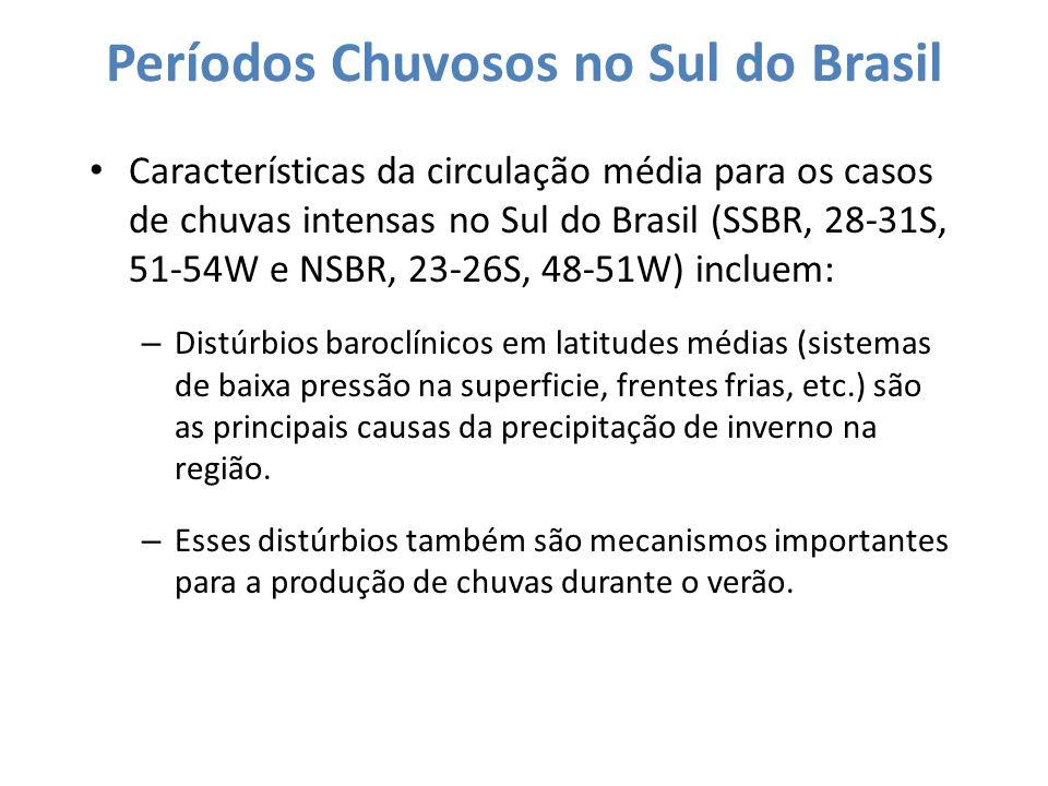 Períodos Chuvosos no Sul do Brasil Características da circulação média para os casos de chuvas intensas no Sul do Brasil (SSBR, 28-31S, 51-54W e NSBR,
