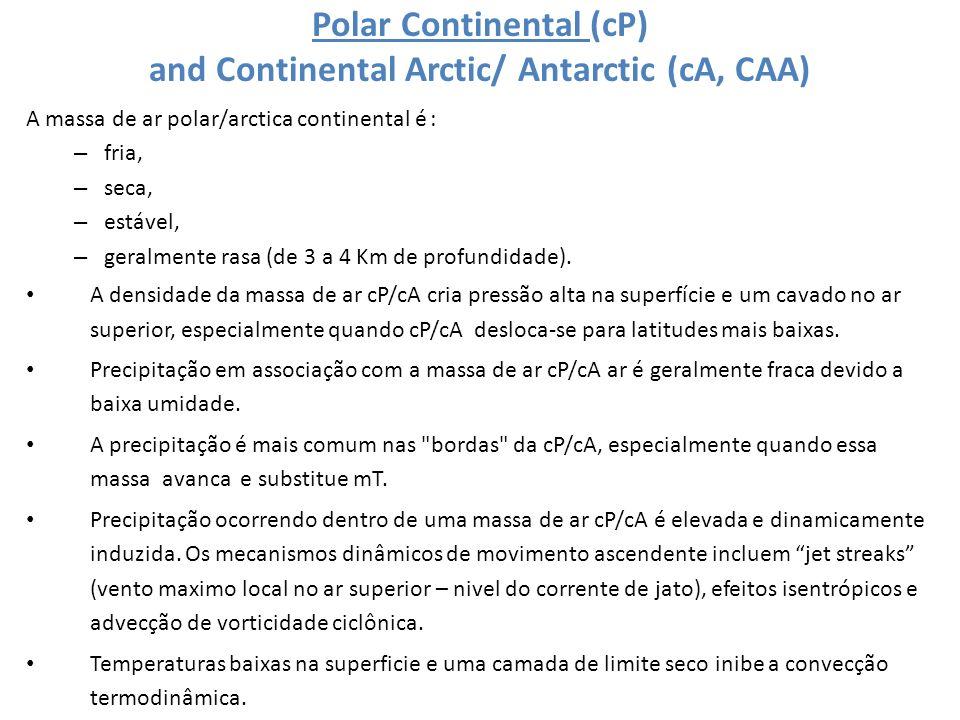 Polar Continental (cP) and Continental Arctic/ Antarctic (cA, CAA) A massa de ar polar/arctica continental é : – fria, – seca, – estável, – geralmente