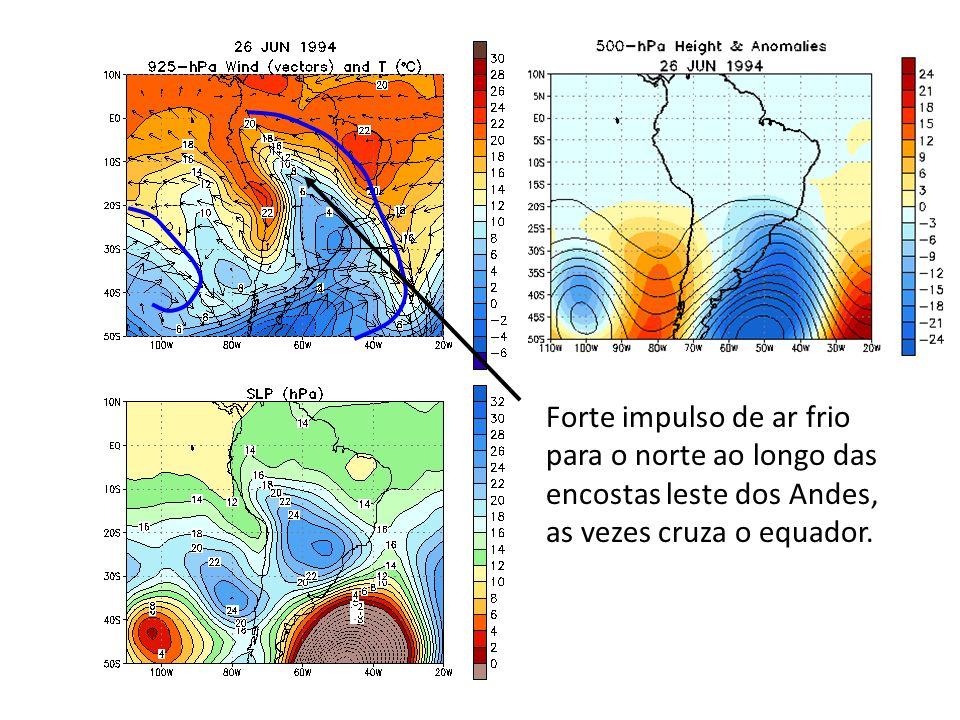 Forte impulso de ar frio para o norte ao longo das encostas leste dos Andes, as vezes cruza o equador.