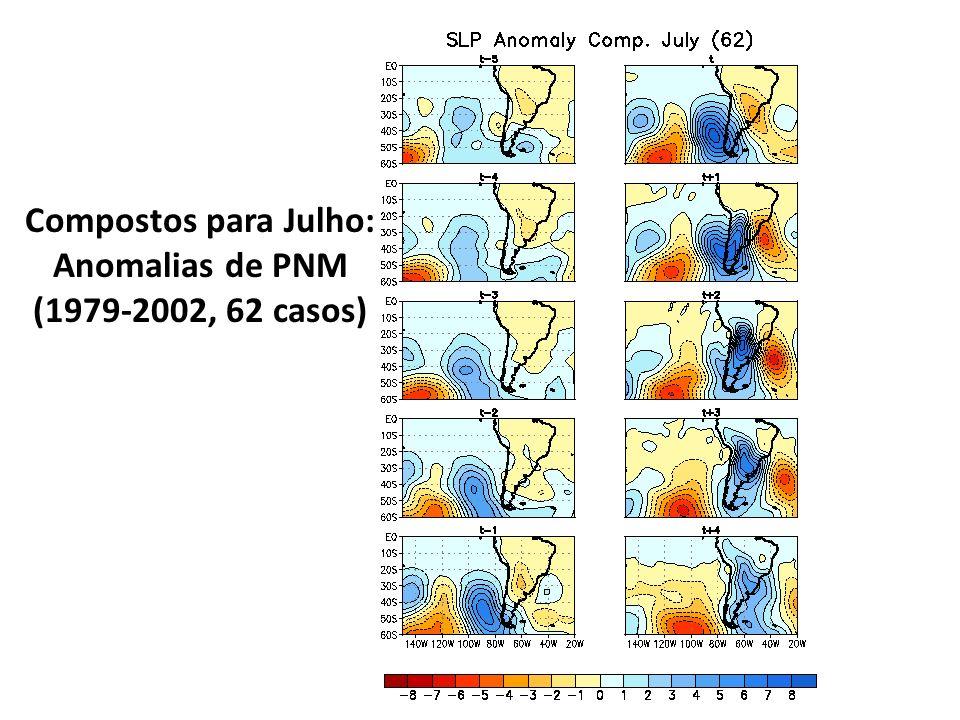 Compostos para Julho: Anomalias de PNM (1979-2002, 62 casos)