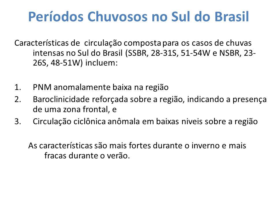 Períodos Chuvosos no Sul do Brasil Características de circulação composta para os casos de chuvas intensas no Sul do Brasil (SSBR, 28-31S, 51-54W e NS