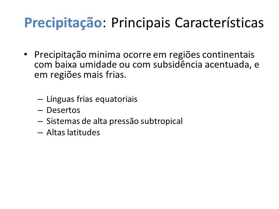 Precipitação: Principais Características Precipitação minima ocorre em regiões continentais com baixa umidade ou com subsidência acentuada, e em regiõ