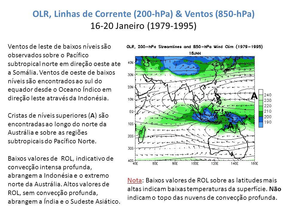 OLR, Linhas de Corrente (200-hPa) & Ventos (850-hPa) 16-20 Janeiro (1979-1995) Ventos de leste de baixos níveis são observados sobre o Pacífico subtro