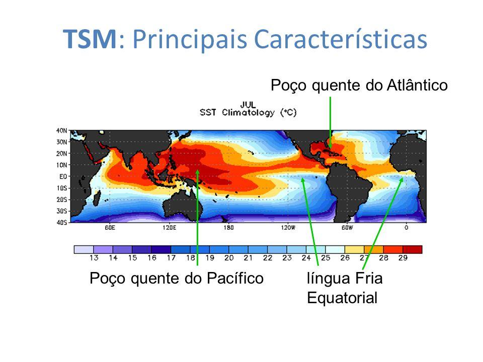 TSM: Principais Características Poço quente do Atlântico Poço quente do Pacíficolíngua Fria Equatorial
