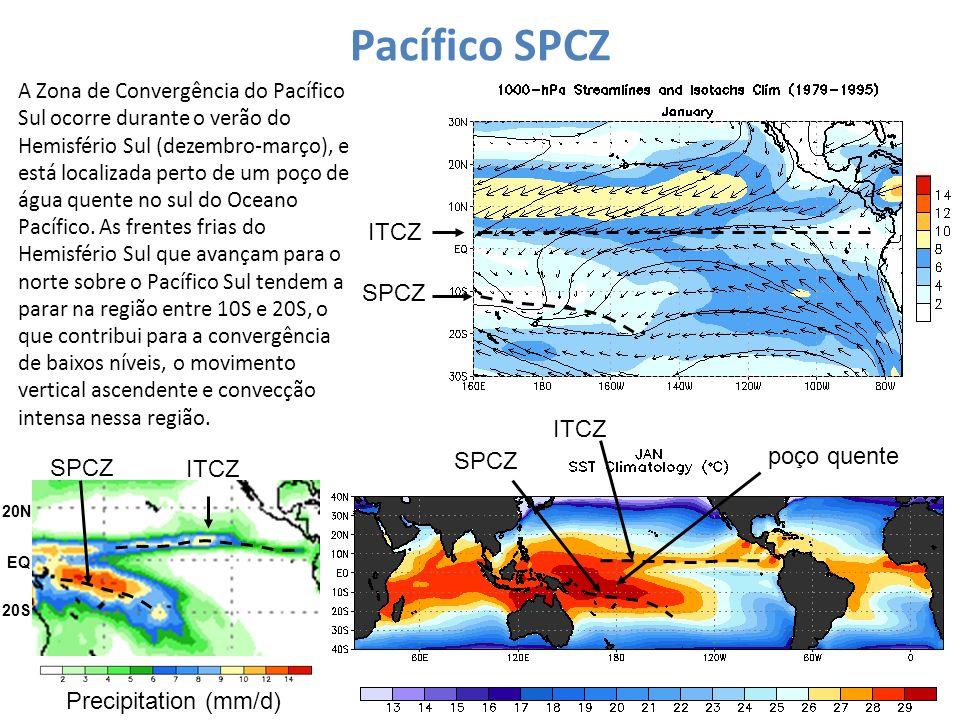 Pacífico SPCZ ITCZ SPCZ A Zona de Convergência do Pacífico Sul ocorre durante o verão do Hemisfério Sul (dezembro-março), e está localizada perto de u