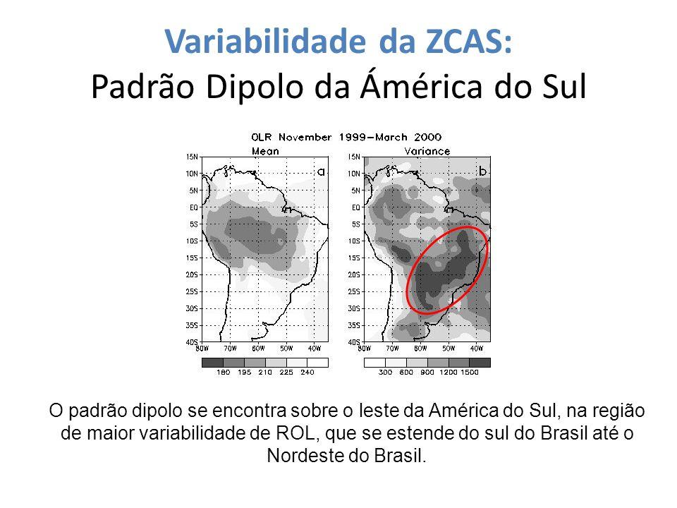 Variabilidade da ZCAS: Padrão Dipolo da Ámérica do Sul O padrão dipolo se encontra sobre o leste da América do Sul, na região de maior variabilidade d