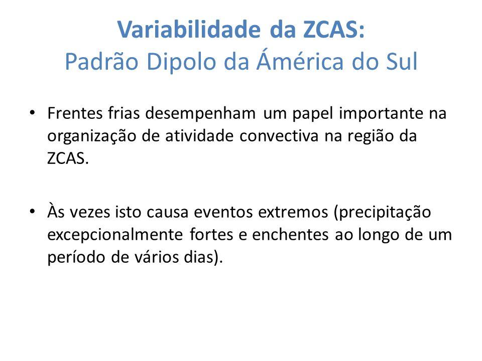 Variabilidade da ZCAS: Padrão Dipolo da Ámérica do Sul Frentes frias desempenham um papel importante na organização de atividade convectiva na região