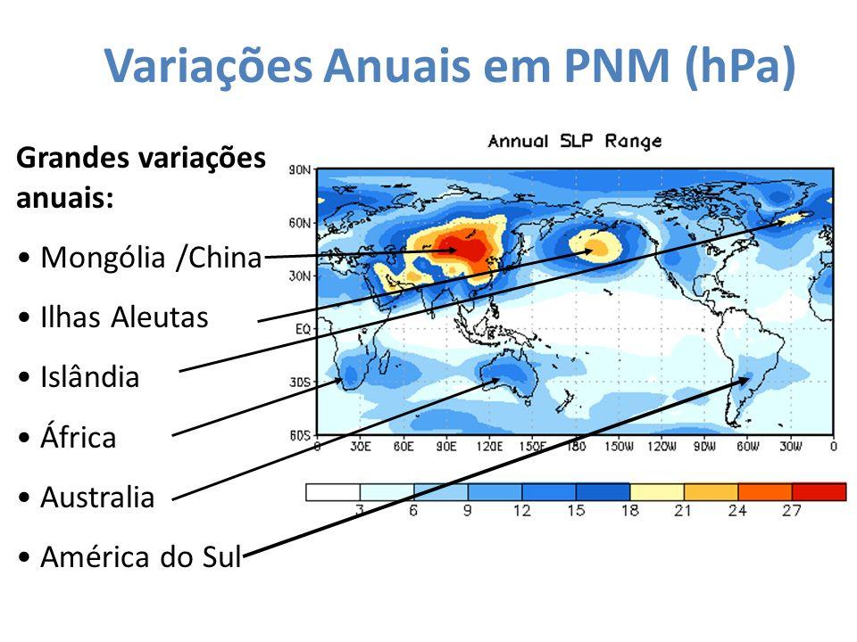 Variações Anuais em PNM (hPa) Grandes variações anuais: Mongólia /China Ilhas Aleutas Islândia África Australia América do Sul