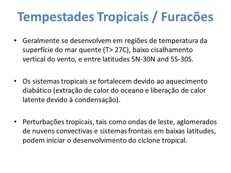 Tempestades Tropicais / Furacões Geralmente se desenvolvem em regiões de temperatura da superfície do mar quente (T> 27C), baixo cisalhamento vertical
