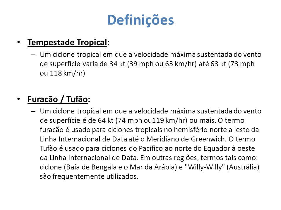 Definições Tempestade Tropical: – Um ciclone tropical em que a velocidade máxima sustentada do vento de superfície varia de 34 kt (39 mph ou 63 km/hr)