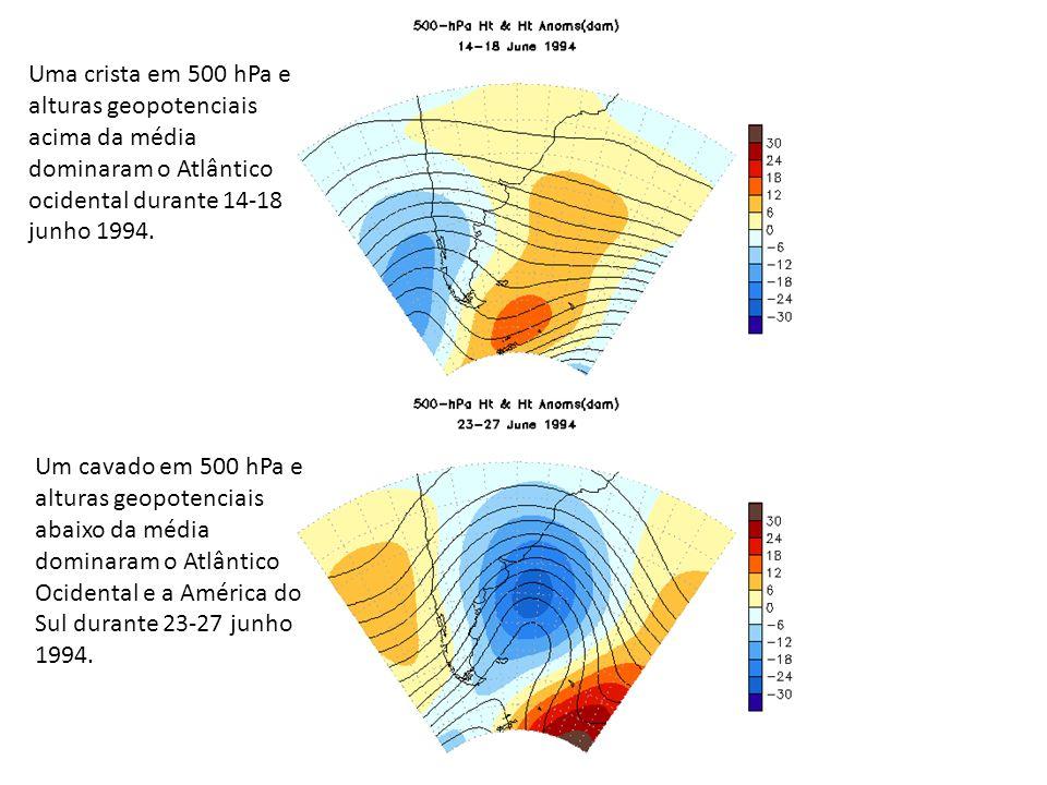 Uma crista em 500 hPa e alturas geopotenciais acima da média dominaram o Atlântico ocidental durante 14-18 junho 1994. Um cavado em 500 hPa e alturas