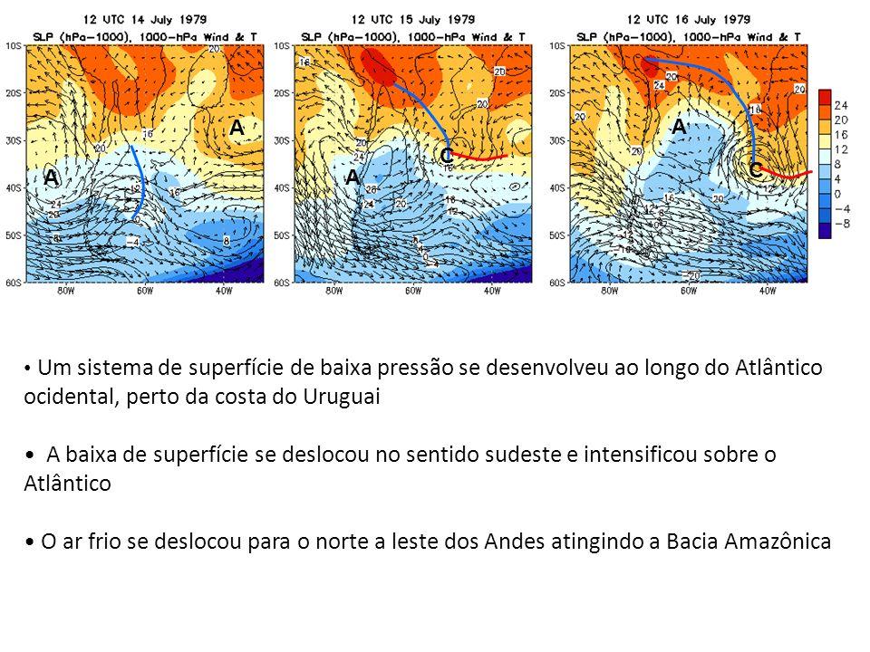 A A A A C C Um sistema de superfície de baixa pressão se desenvolveu ao longo do Atlântico ocidental, perto da costa do Uruguai A baixa de superfície