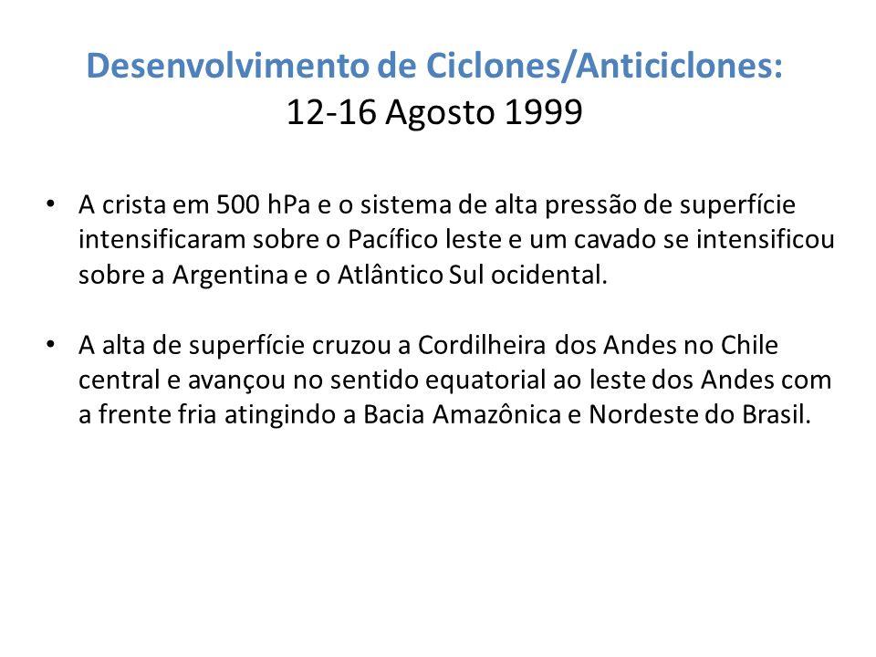 Desenvolvimento de Ciclones/Anticiclones: 12-16 Agosto 1999 A crista em 500 hPa e o sistema de alta pressão de superfície intensificaram sobre o Pacíf