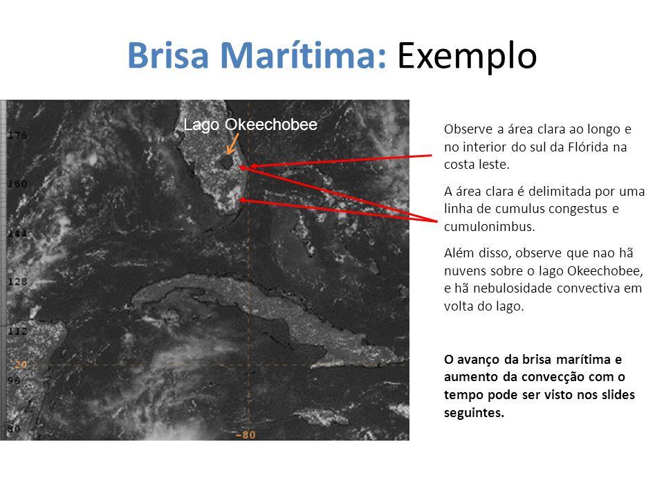 Brisa Marítima: Exemplo Observe a área clara ao longo e no interior do sul da Flórida na costa leste. A área clara é delimitada por uma linha de cumul