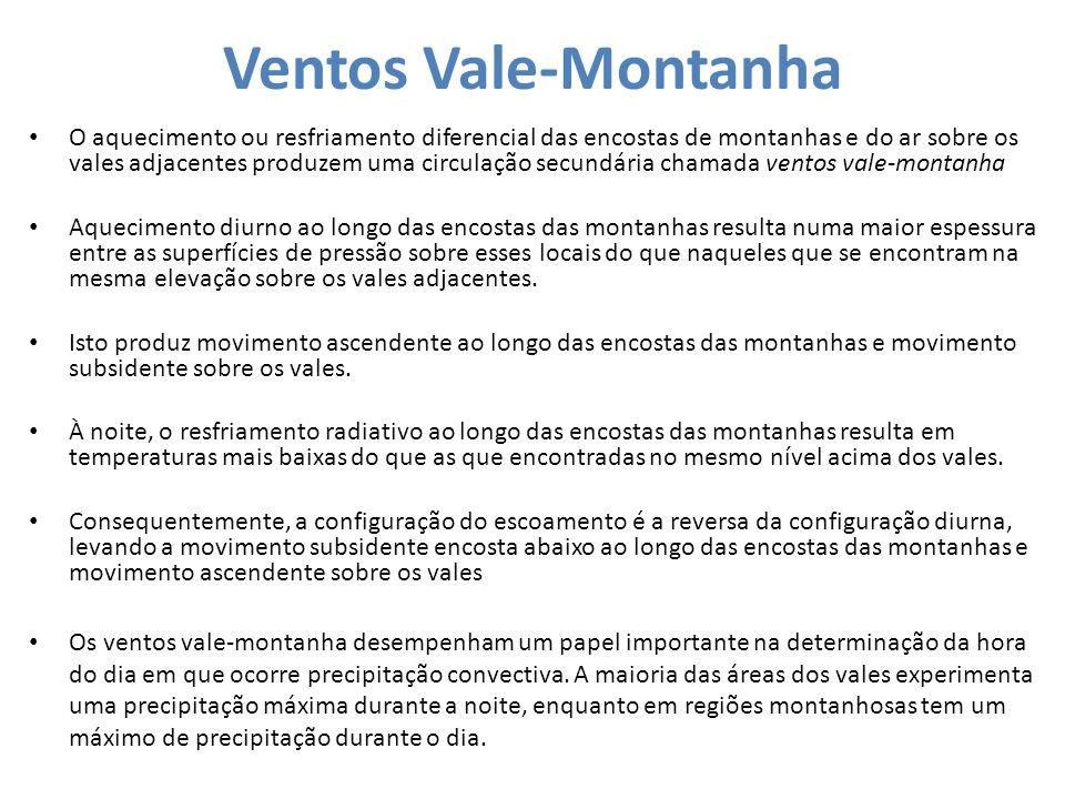 Ventos Vale-Montanha O aquecimento ou resfriamento diferencial das encostas de montanhas e do ar sobre os vales adjacentes produzem uma circulação sec