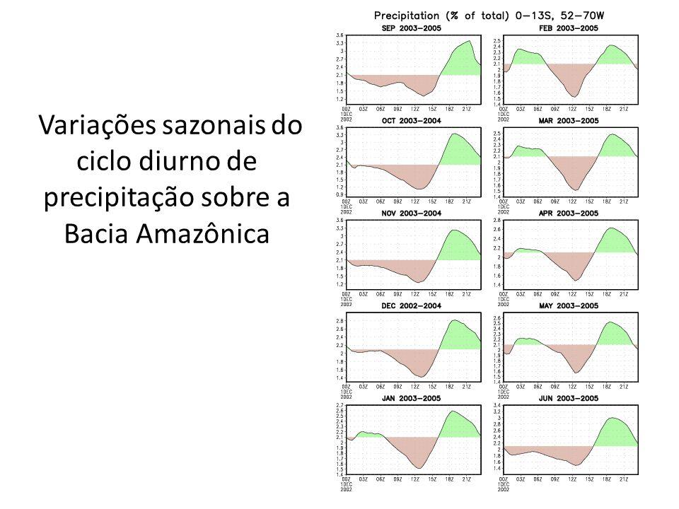 Variações sazonais do ciclo diurno de precipitação sobre a Bacia Amazônica
