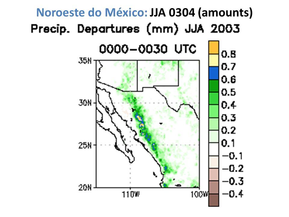 Noroeste do México: JJA 0304 (amounts)