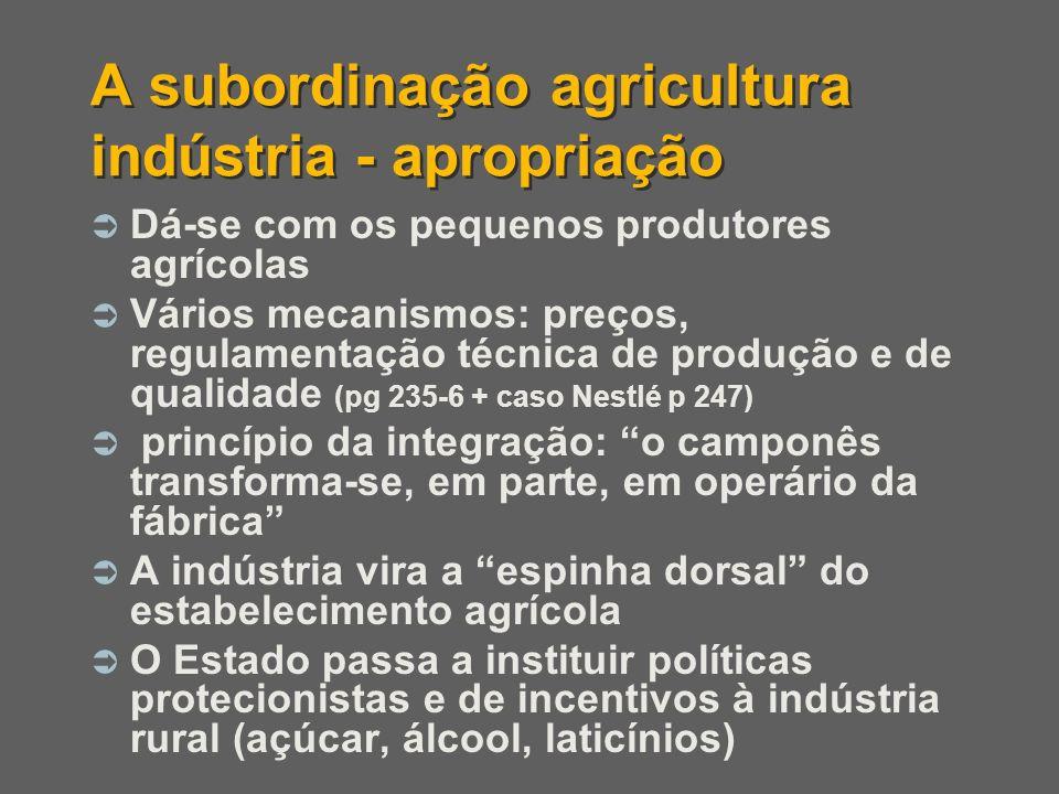 A subordinação agricultura indústria - apropriação Dá-se com os pequenos produtores agrícolas Vários mecanismos: preços, regulamentação técnica de pro