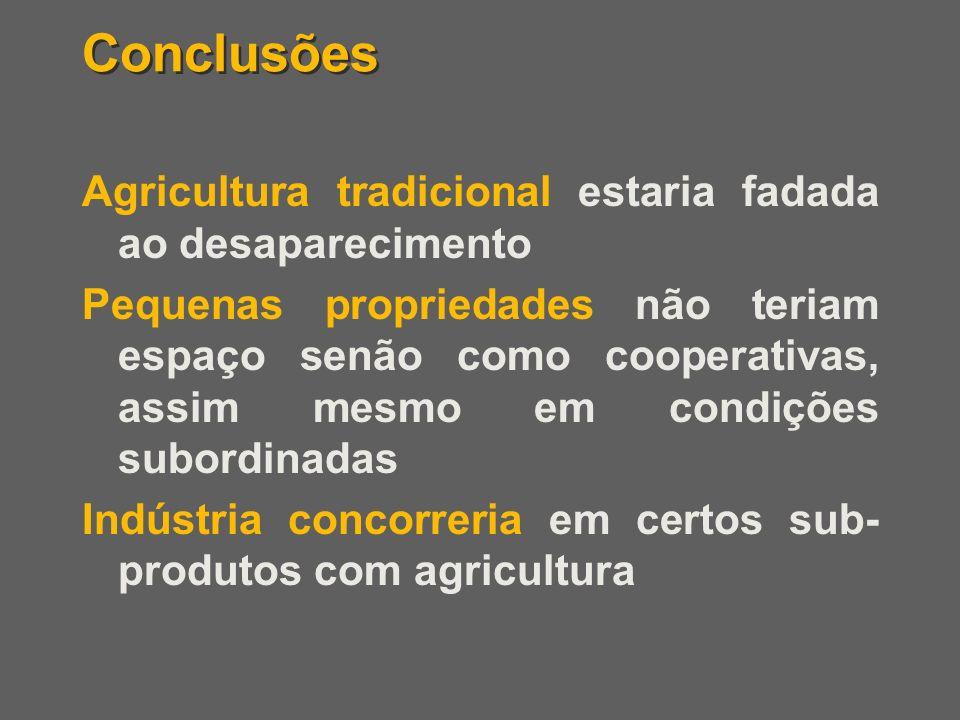 Conclusões Agricultura tradicional estaria fadada ao desaparecimento Pequenas propriedades não teriam espaço senão como cooperativas, assim mesmo em c