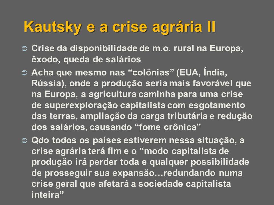 Crise da disponibilidade de m.o. rural na Europa, êxodo, queda de salários Acha que mesmo nas colônias (EUA, Índia, Rússia), onde a produção seria mai